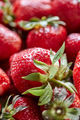 Closeup of red berries of organic strawberry with green leaves. Healthy Diet Food - PhotoDune Item for Sale