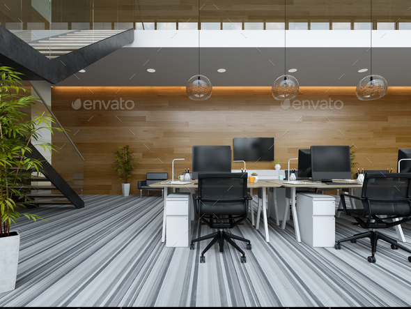 Interior modern open space office 3D illustration - Stock Photo - Images