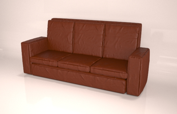 Leather Brown  Sofa - 3DOcean Item for Sale