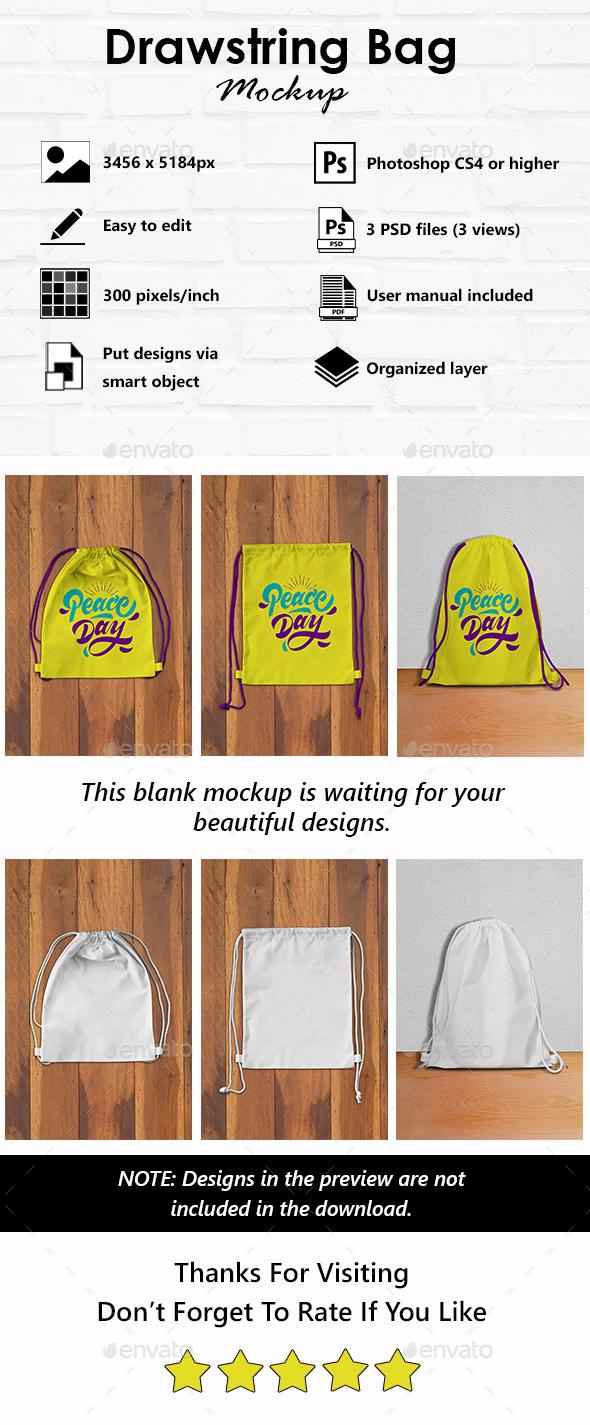 Drawstring Bag Mockup - Logo Product Mock-Ups