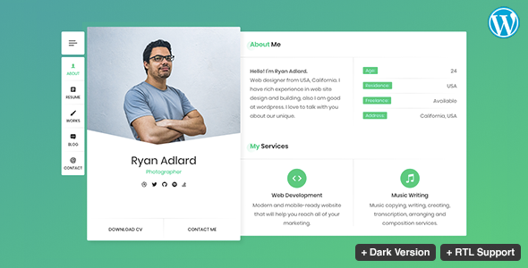 Ryan - CV / Resume / vCard Theme - Personal Blog / Magazine