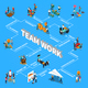 Teamwork Isometric Flowchart - GraphicRiver Item for Sale