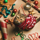 Flat-lay of Christmas decorations and cat in red winter sweater - PhotoDune Item for Sale