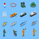 Fishing Isometric Icons Set - GraphicRiver Item for Sale