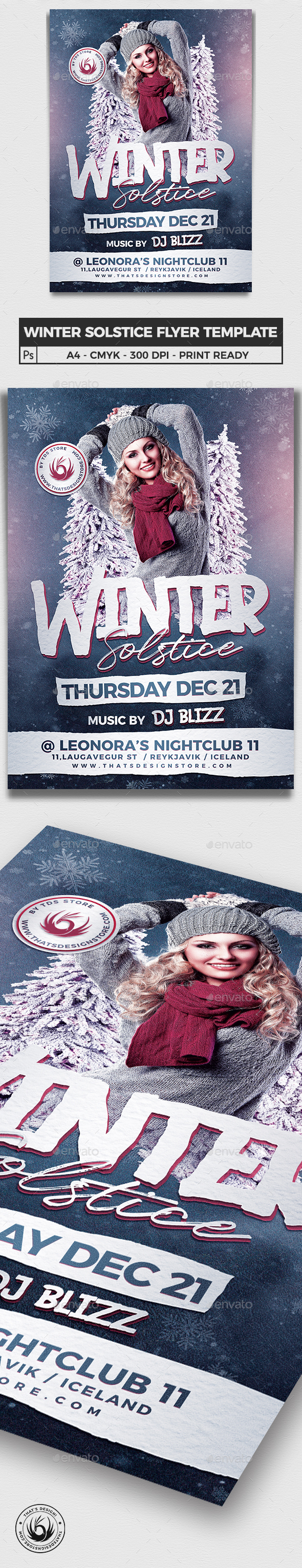 Winter Solstice Flyer Template V2 - Clubs & Parties Events