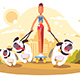 Woman on Skate Walking with Dogs - GraphicRiver Item for Sale