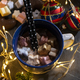 Cup of milk and Marshmallow. Christmas lights - PhotoDune Item for Sale