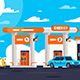 Flat Gas Station with Shop