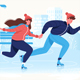 Flat Happy Couple in Winter Clothes Skating on Ice - GraphicRiver Item for Sale