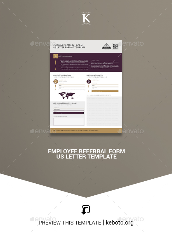 Employee Referral Form US Letter Template - Miscellaneous Print Templates