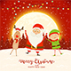 Happy Santa with Elf and Reindeer on Red Christmas Background - GraphicRiver Item for Sale