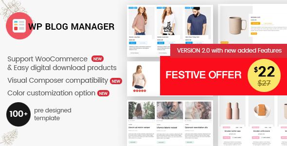 WP Blog Manager - Plugin to Manage / Design WordPress Blog - CodeCanyon Item for Sale