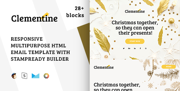 Clementine – Responsive Christmas Email Template + Stampready Builder