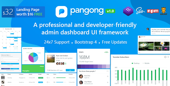 Pangong - Developer-friendly Bootstrap 4 Admin Dashboard Template - Admin Templates Site Templates