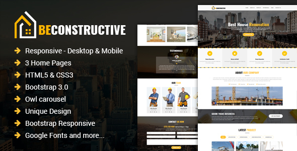 Be Constructive One Page Construction Html Template By Eyecomm