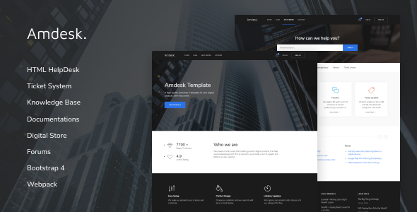 Amdesk - HelpDesk and Knowledge Base HTML template