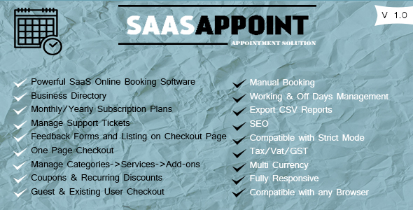 SaasAppoint - CodeCanyon Item for Sale
