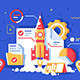 Flat Start Up Project with Rocket - GraphicRiver Item for Sale