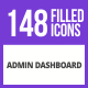 Free Download 148 Admin Dashboard Filled Blue & Black Icons Nulled