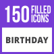 Free Download 150 Birthday Filled Blue & Black Icons Nulled