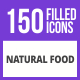 Free Download 150 Natural Food Filled Blue & Black Icons Nulled