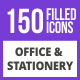 Free Download 150 Office & Stationery Filled Blue & Black Icons Nulled
