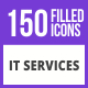 150 IT Services Filled Blue & Black Icons - GraphicRiver Item for Sale