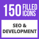 150 SEO & Development Filled Blue & Black Icons - GraphicRiver Item for Sale