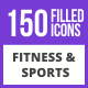 150 Fitness & Sports Filled Blue & Black Icons - GraphicRiver Item for Sale