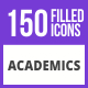 Free Download 150 Academics Filled Blue & Black Icons Nulled
