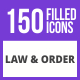 150 Law & Order Filled Blue & Black Icons - GraphicRiver Item for Sale