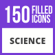 Free Download 150 Science Filled Blue & Black Icons Nulled