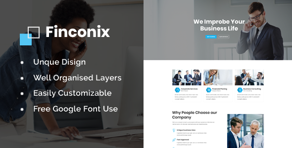 Finconix - Corporate & Financial PSD Template - Corporate PSD Templates