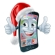 Mobile Cell Phone Christmas Mascot in Santa Hat - GraphicRiver Item for Sale
