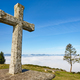 Antique stone cross sanctuary in Asturias, Spain. El Acebo viewpoint - PhotoDune Item for Sale