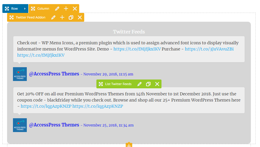 Twitter Feed Addon for Visual Composer - WPBakery Twitter Addon for  WordPress