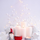 Christmas composition with a candles, gnome and festive decorati - PhotoDune Item for Sale