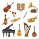 Vector Icons Set of Musical Instruments - GraphicRiver Item for Sale