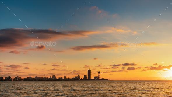 Batumi, Adjara, Georgia. Town In Sunset Sundown Time. Evening Sk - Stock Photo - Images