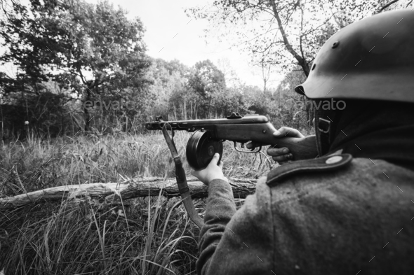 Hidden German Wehrmacht Infantry Soldier In World War II Soldier - Stock Photo - Images