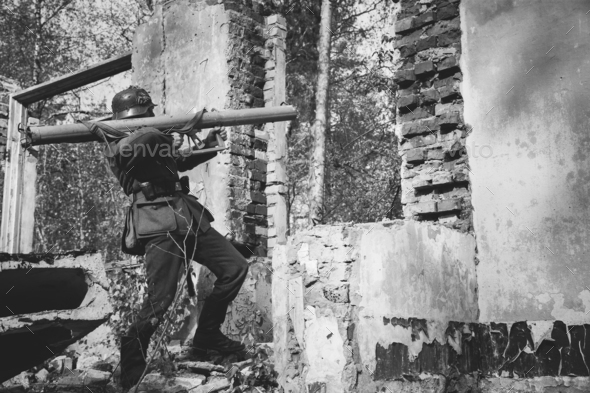 German Wehrmacht Infantry Soldier In World War II Open Fire From - Stock Photo - Images