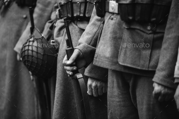 Close Up Of German Military Ammunition Of A German Soldier. Worl - Stock Photo - Images