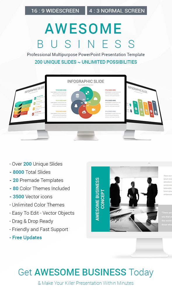 Awesome Business PowerPoint Presentation Template - Business PowerPoint Templates