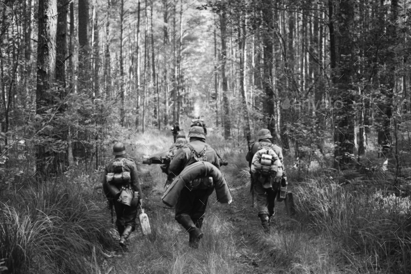 German Infantry Soldiers In World War II Marching Walking Along - Stock Photo - Images