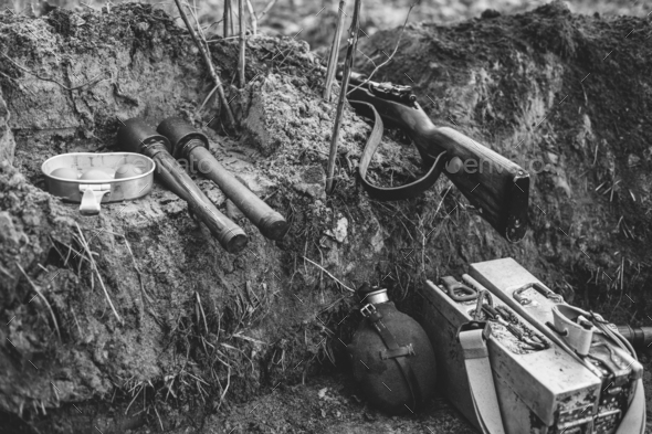 German Military Ammunition Of World War II On Ground. Rifle, Gre - Stock Photo - Images