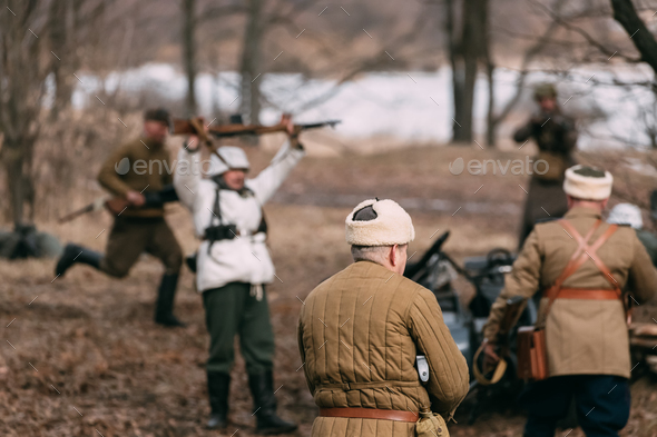 Re-enactors Dressed As Russian Soviet Soldiers Of World War II P - Stock Photo - Images