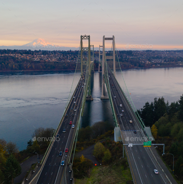Aerial View Tacoma Narrows Bridges over Puget Sound Mount Rainier - Stock Photo - Images