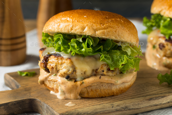Spicy Homemade Chipotle Chicken Burger - Stock Photo - Images