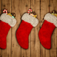 red Christmas stocking on old wooden background 3D rendering - PhotoDune Item for Sale