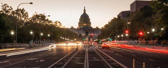 Early Morning Traffic Pennsylvania Avenue District of Columbia - Stock Photo - Images